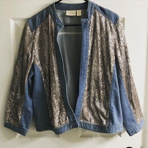 Chico's sequined denim jacket
